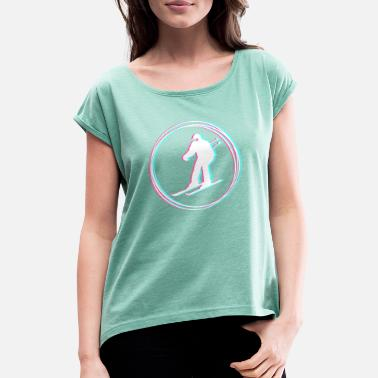 crazy skiing - Women's Rolled Sleeve T-Shirt