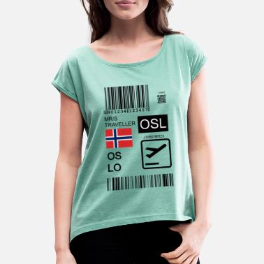 Luchthaven Oslo reisticket & bagage tag - Vrouwen T-shirt met opgerolde mouwen