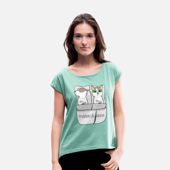 Love T-Shirts - couple of cats - Women's Rolled Sleeve T-Shirt heather mint
