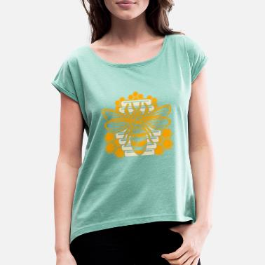 Hive Artistic Beekeeping Graphic Design Awesome Bee - Frauen T-Shirt mit gerollten Ärmeln