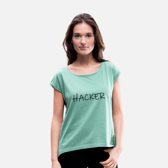 Controller T-Shirts - hacker - Women's Rolled Sleeve T-Shirt heather mint