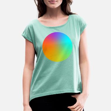 Multi Coloured Gradient Circle Multi-Coloured - Women's Rolled Sleeve T-Shirt