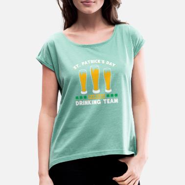Drowning The Shamrock St. Patricks Day Parade Drinking Team Shamrock - Women's Rolled Sleeve T-Shirt