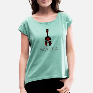 Brutal Spartan helmet blood gift idea - Women's Rolled Sleeve T-Shirt