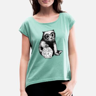 Baby Owlbear with D20 - Women's Rolled Sleeve T-Shirt
