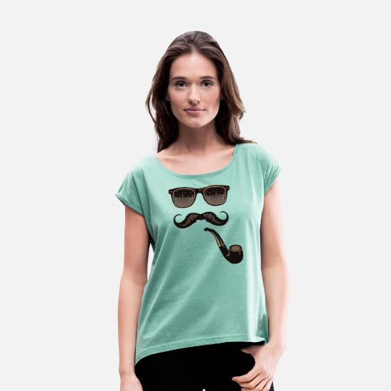 Sunglasses T-Shirts - sunglasses mustache pipe mustachioed party pa - Women's Rolled Sleeve T-Shirt heather mint