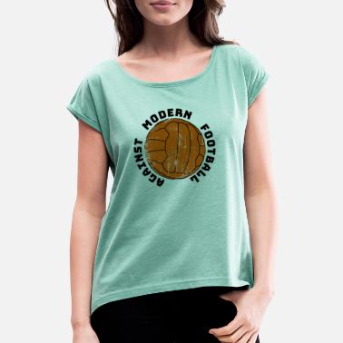 Ultras Logo Vintage Against modern Football - Frauen T-Shirt mit gerollten Ärmeln