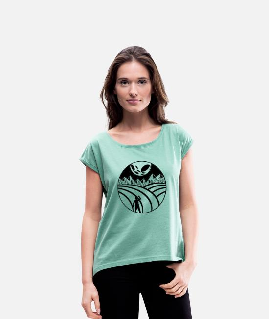 Satyr T-Shirts - Minimal moon hater - Women's Rolled Sleeve T-Shirt heather mint