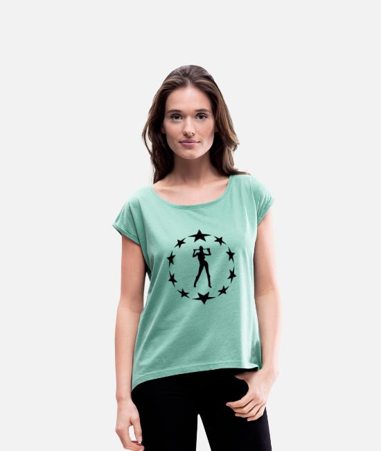 Farewell Bachelor T-Shirts - stars wreath special - Women's Rolled Sleeve T-Shirt heather mint