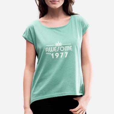 41 Years Old Gift for 41 year old 1977 - Women's T-Shirt with rolled up sleeves