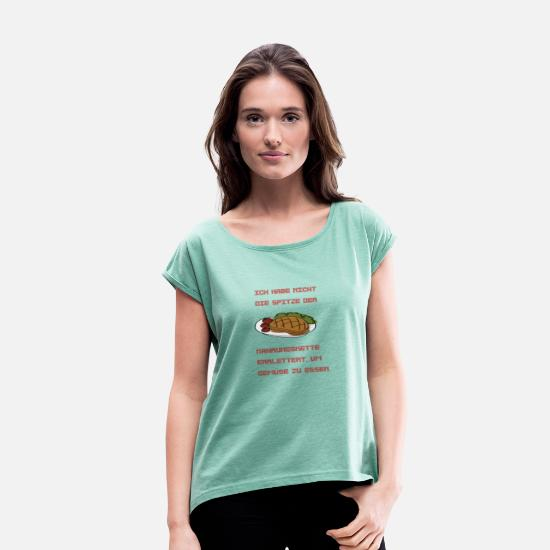 Food Chain T-Shirts - Steak, food chain, foodcontest - Women's Rolled Sleeve T-Shirt heather mint