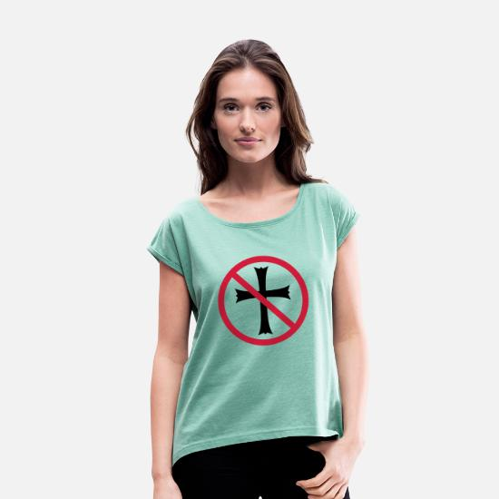 Symbol  T-Shirts - forbidden shield zone no church symbol cross Jesus - Women's Rolled Sleeve T-Shirt heather mint