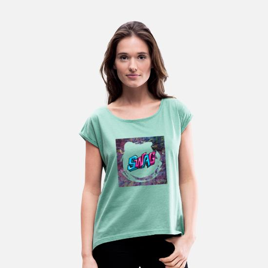 2019 T-Shirts - 2019 fashion clothes - Women's Rolled Sleeve T-Shirt heather mint