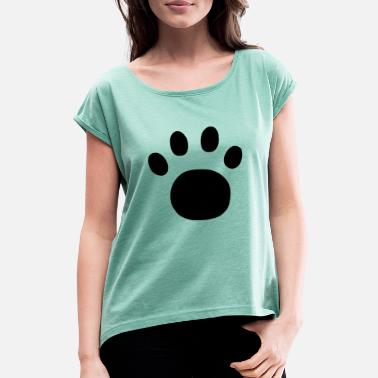 Plot Printing Paw Print - Women's Rolled Sleeve T-Shirt