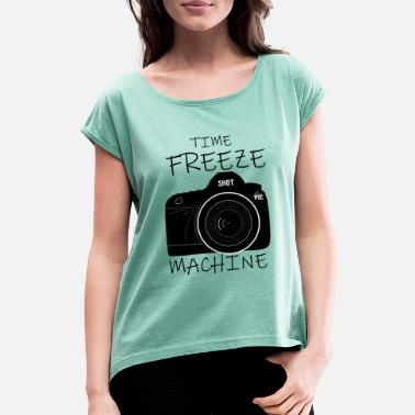 Time Machine Time Freeze Machine - the time machine - Women's Rolled Sleeve T-Shirt
