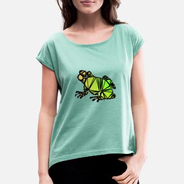 Frog colorful - Women's Rolled Sleeve T-Shirt