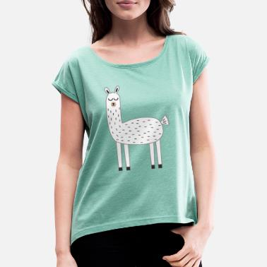 Lama Llama knows - Women's Rolled Sleeve T-Shirt