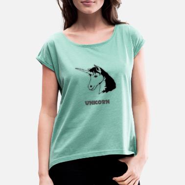 Ross Unicorn Unicorn - Women's T-Shirt with rolled up sleeves
