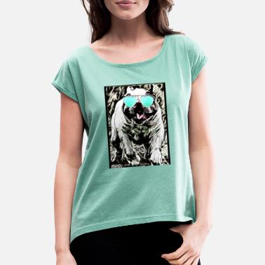 Bulldog With Sunglasses English bulldog, sunglasses - Women's T-Shirt with rolled up sleeves