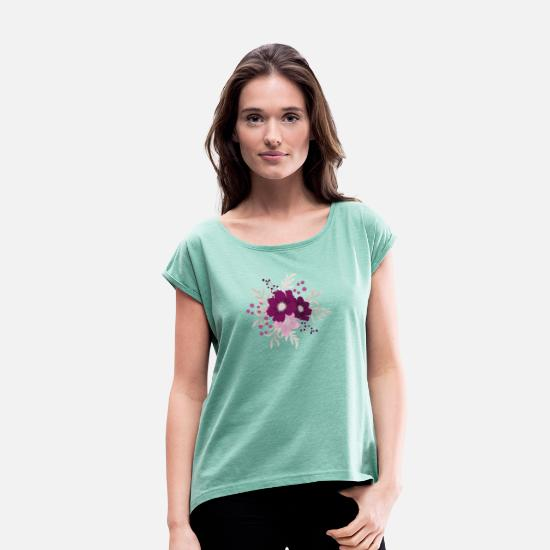 Big T-Shirts - Big Violet - Women's Rolled Sleeve T-Shirt heather mint