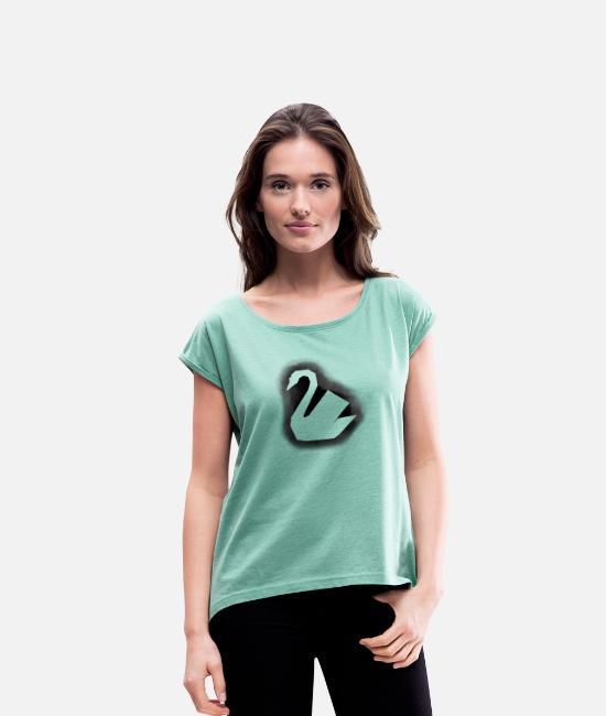 Pregnant T-Shirts - swan - Women's Rolled Sleeve T-Shirt heather mint