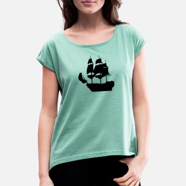Pirate Ship Pirate ship pirate sailing ship - Women's Rolled Sleeve T-Shirt