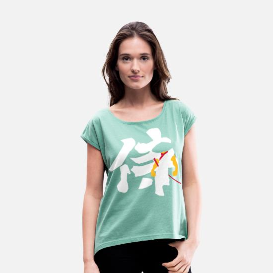 Rising Sun T-Shirts - Samurai Kanji - Women's Rolled Sleeve T-Shirt heather mint