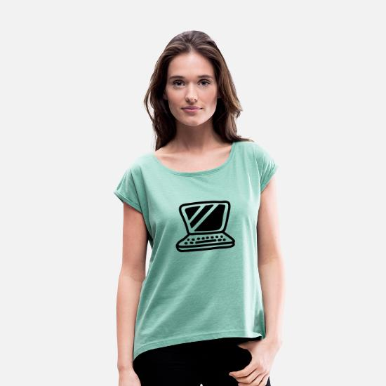 Office T-Shirts - Laptop - Line - Women's Rolled Sleeve T-Shirt heather mint