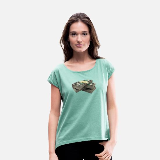 Money T-Shirts - Dollars - Women's Rolled Sleeve T-Shirt heather mint