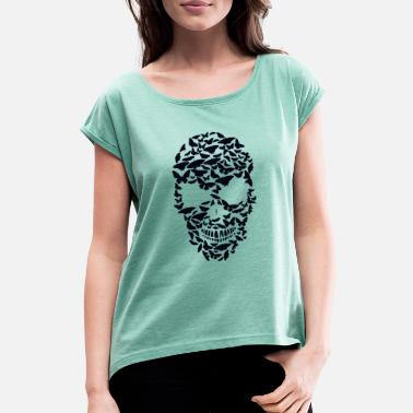 Shape death head shape butterfly skull fantasy skull - Women's Rolled Sleeve T-Shirt