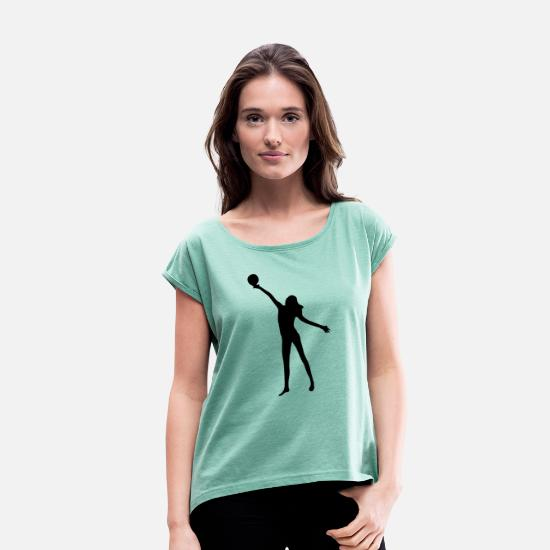 Group T-Shirts - beach volleyball woman beach - Women's Rolled Sleeve T-Shirt heather mint