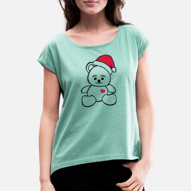 Toy Christmas Teddy - Women's Rolled Sleeve T-Shirt