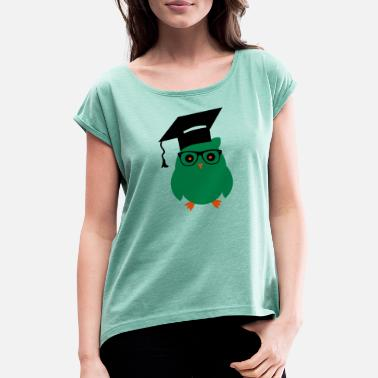 Owl nerd owl3 - Women's Rolled Sleeve T-Shirt