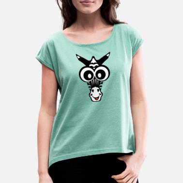 6e47e37055631 Enfants Zèbre zebre dessin animaux enfant - T-shirt à manches retroussées  Femme