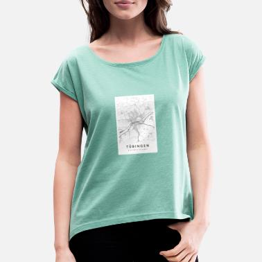 Open Tübingen Baden-Württemberg Map City Map Citymap - Women's Rolled Sleeve T-Shirt