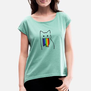 Nyan Cat For Geeks: Nyan Cat, Pop-Tart Cat, Rainbow Colors - Women's Rolled Sleeve T-Shirt