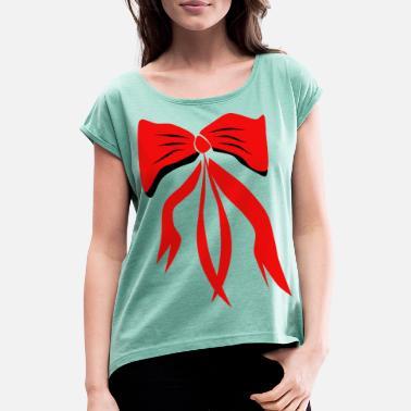 d6fd4cc4854cb Ruban Rouge Motif Ruban Rouge Noir Blanc Rouge - T-shirt à manches  retroussées Femme