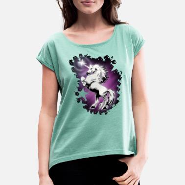 Airbrush Unicorn with stars - airbrush design - Women's T-Shirt with rolled up sleeves