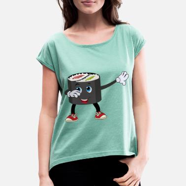 Comic Sushi sushi roll dabbing gift - Women's Rolled Sleeve T-Shirt