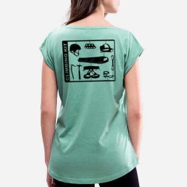 a95eafc4987f4f Kletterfreunde Climbing Kit - Frauen T-Shirt mit gerollten Ärmeln
