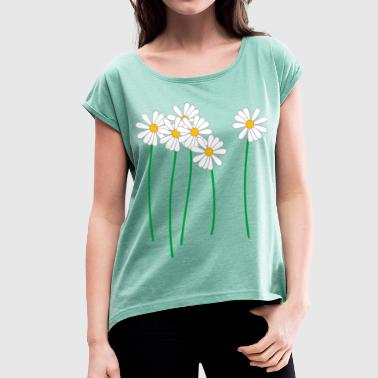 daisies - Women's T-shirt with rolled up sleeves