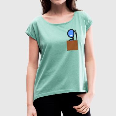 Breast pocket glasses - Women's T-shirt with rolled up sleeves