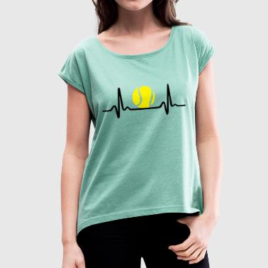 Tennis ECG, Heartbeat & Tennis Ball - Women's T-shirt with rolled up sleeves