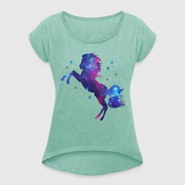 Space Horse, cosmos, universe, space, galaxy - Women's T-shirt with rolled up sleeves