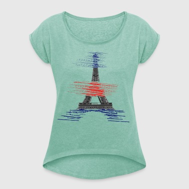 paris-eiffel - Women's T-shirt with rolled up sleeves