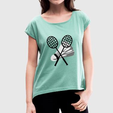 Badminton - Women's T-shirt with rolled up sleeves