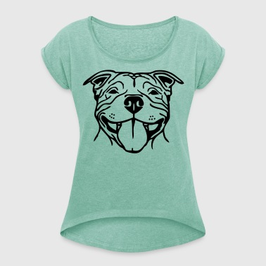 Stafford Happy Smile ©  www.dog-power.nl - Women's T-shirt with rolled up sleeves