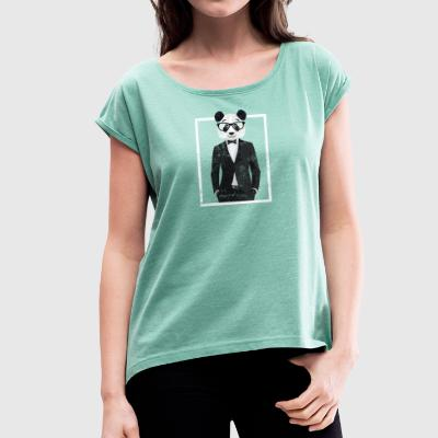 Cool panda bear med dress og briller Zoo Animal Fun - T-skjorte med rulleermer for kvinner