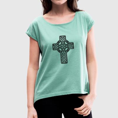 Celtic cross - Women's T-shirt with rolled up sleeves