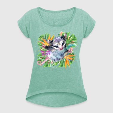 Animal Planet Opossum Playing Electric Guitar - Dame T-shirt med rulleærmer